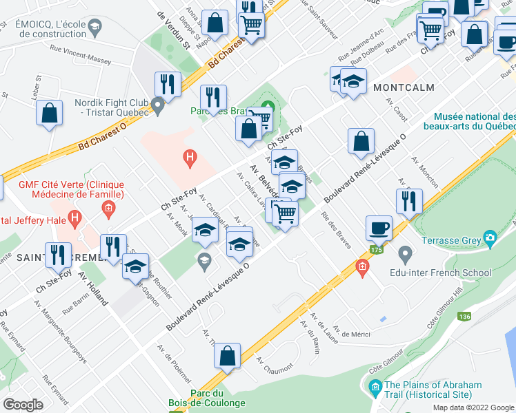 map of restaurants, bars, coffee shops, grocery stores, and more near 880 Avenue Calixa-Lavallée in Ville de Québec