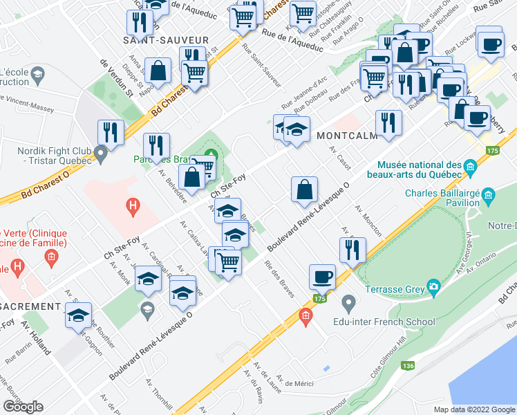 map of restaurants, bars, coffee shops, grocery stores, and more near 720 Rue Père-Marquette in Québec