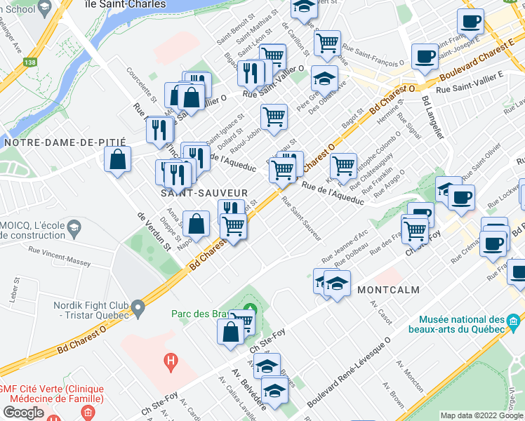 map of restaurants, bars, coffee shops, grocery stores, and more near 639 Boulevard Charest Ouest in Québec