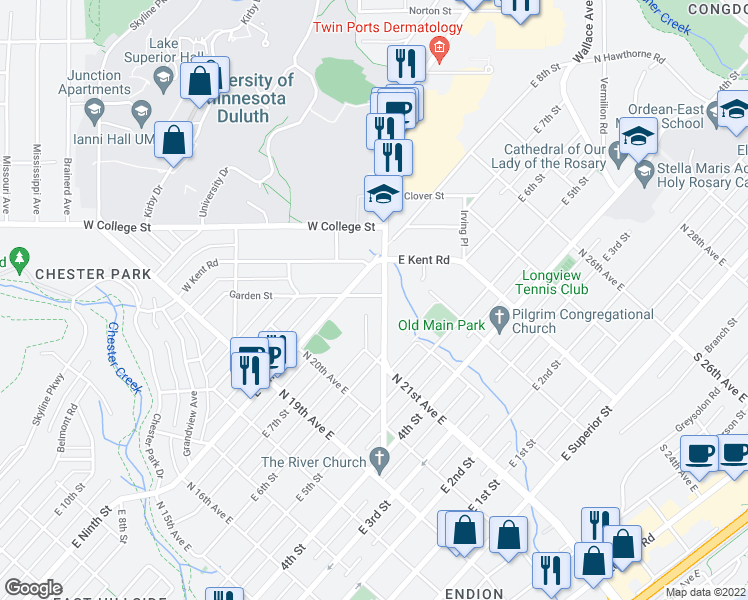 map of restaurants, bars, coffee shops, grocery stores, and more near 645 Woodland Avenue in Duluth