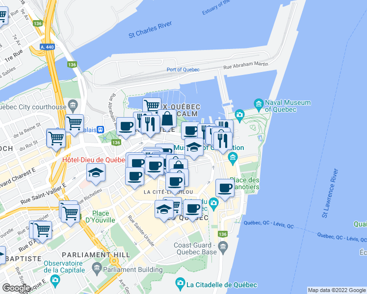 map of restaurants, bars, coffee shops, grocery stores, and more near 144 Côte du Colonel Dambourgès in Ville de Québec