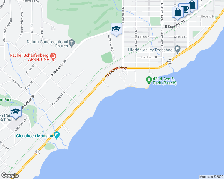 map of restaurants, bars, coffee shops, grocery stores, and more near 3800 London Road in Duluth