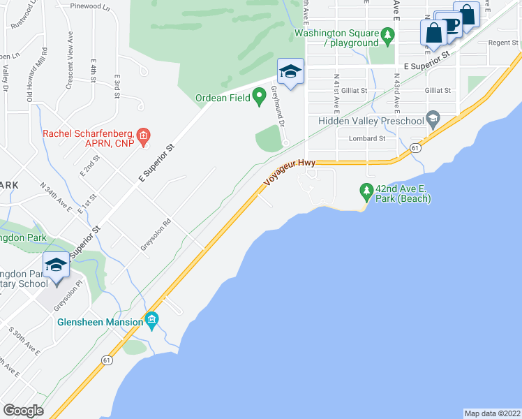 map of restaurants, bars, coffee shops, grocery stores, and more near 3780 London Road in Duluth
