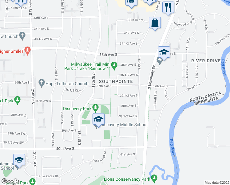 map of restaurants, bars, coffee shops, grocery stores, and more near 3713 17th Street South in Fargo