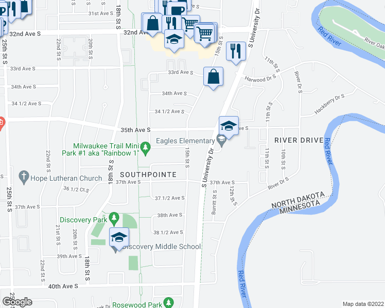 map of restaurants, bars, coffee shops, grocery stores, and more near 3618 15th Street South in Fargo