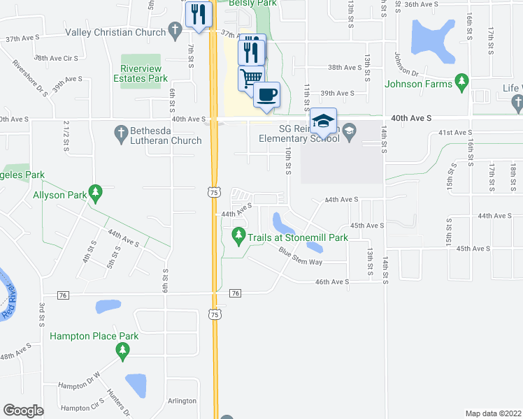 map of restaurants, bars, coffee shops, grocery stores, and more near 4402 Blue Stem Way in Moorhead
