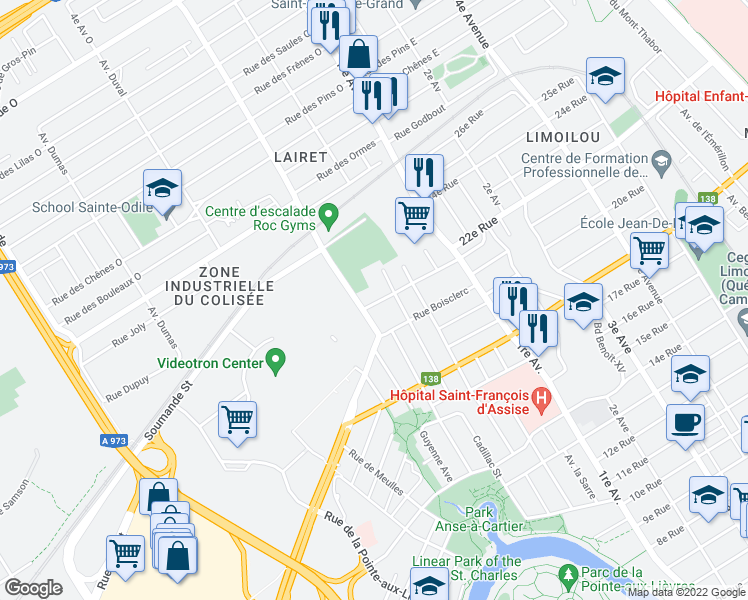 map of restaurants, bars, coffee shops, grocery stores, and more near 82 Boulevard des Alliés in Ville de Québec