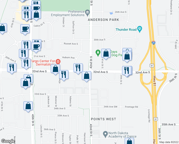 map of restaurants, bars, coffee shops, grocery stores, and more near 32nd Avenue South & 42nd Street South in Fargo