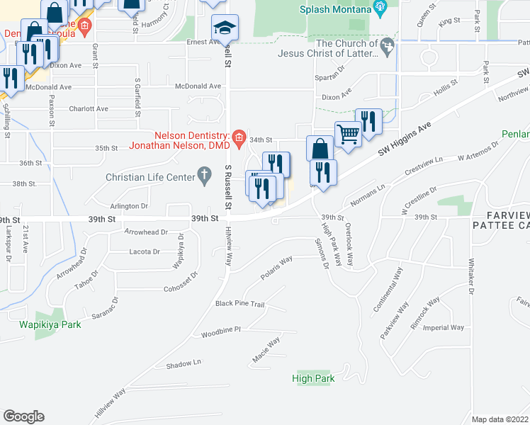 map of restaurants, bars, coffee shops, grocery stores, and more near 1298 Southwest Higgins Avenue in Missoula