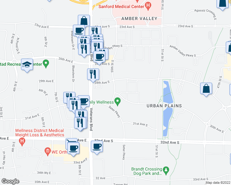 map of restaurants, bars, coffee shops, grocery stores, and more near 4995 30th Avenue South in Fargo