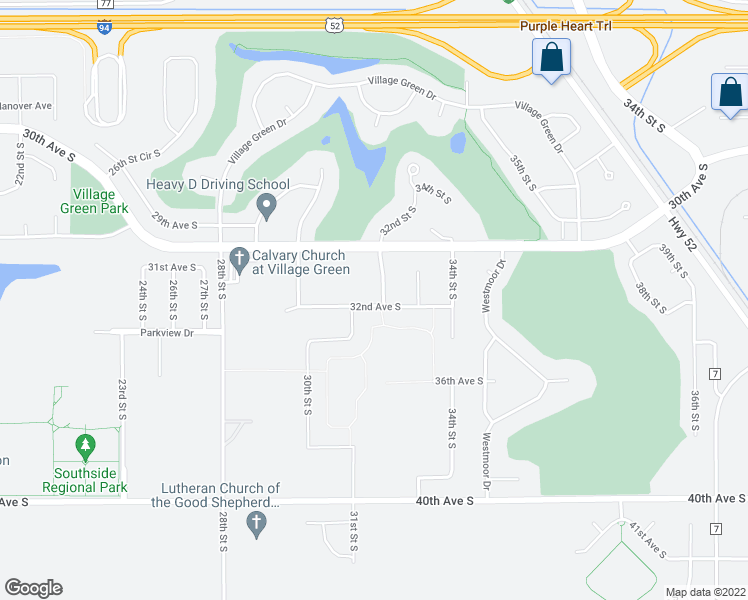 map of restaurants, bars, coffee shops, grocery stores, and more near 3139 32nd Street South in Moorhead