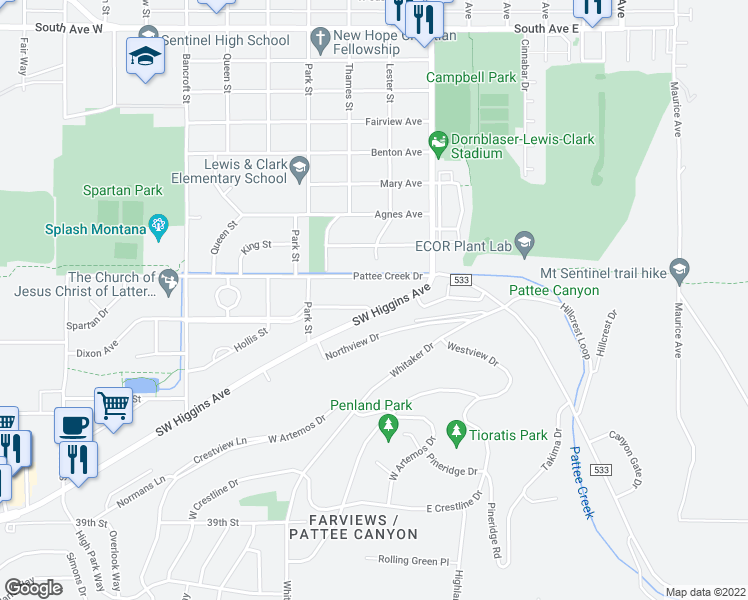 map of restaurants, bars, coffee shops, grocery stores, and more near 200 Dixon Avenue in Missoula