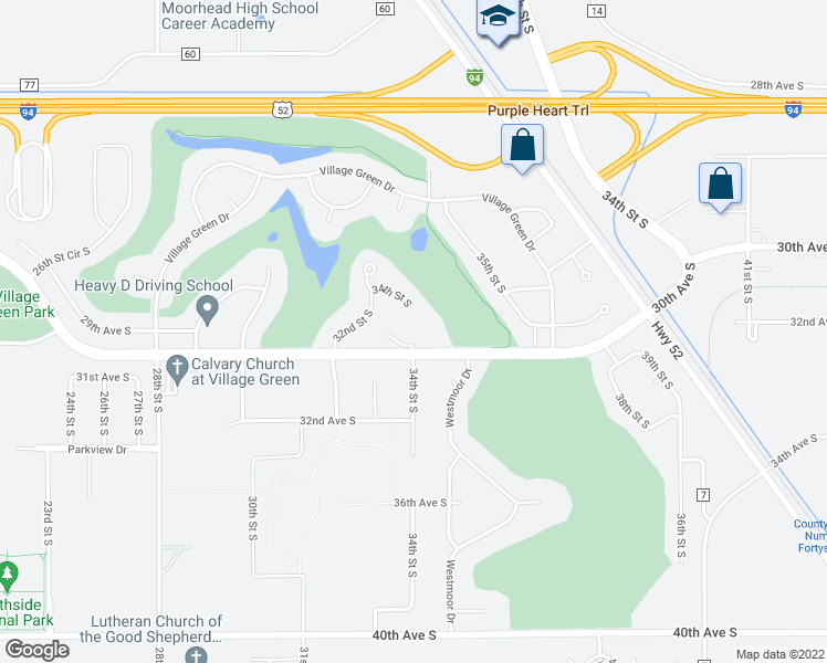 map of restaurants, bars, coffee shops, grocery stores, and more near 3412 Village Green Boulevard in Moorhead