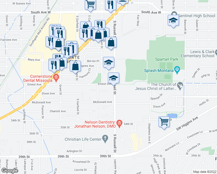 map of restaurants, bars, coffee shops, grocery stores, and more near 1509 Ernest Avenue in Missoula