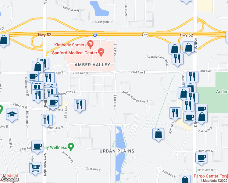 map of restaurants, bars, coffee shops, grocery stores, and more near 5129 Amber Valley Parkway in Fargo