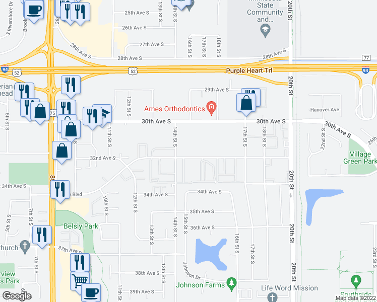 map of restaurants, bars, coffee shops, grocery stores, and more near 1402 Belsly Boulevard in Moorhead