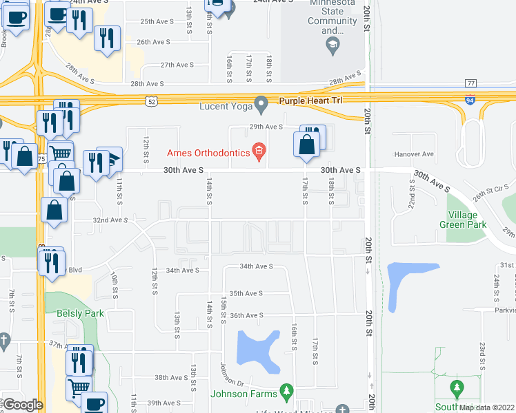 map of restaurants, bars, coffee shops, grocery stores, and more near 1502 Belsly Boulevard in Moorhead