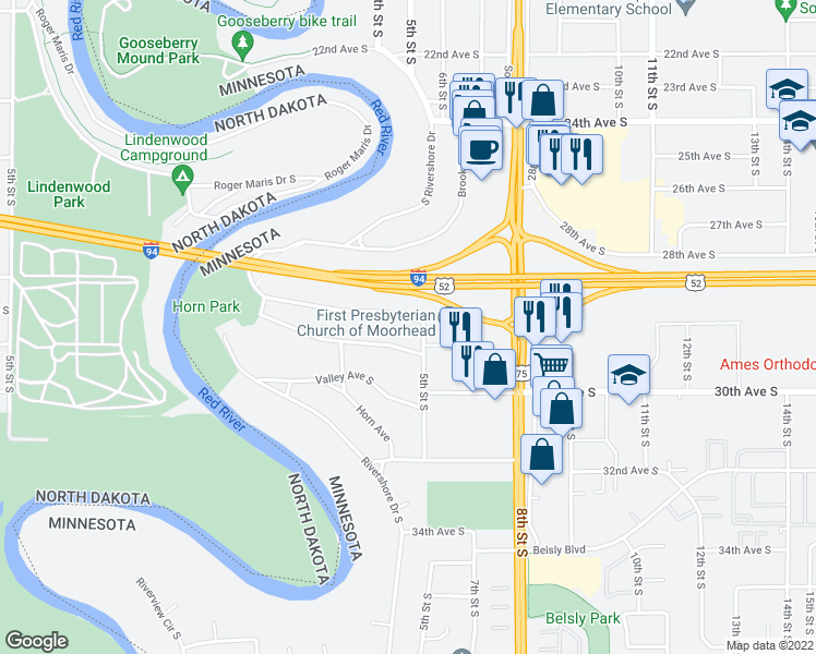 map of restaurants, bars, coffee shops, grocery stores, and more near 437 Brook Avenue in Moorhead