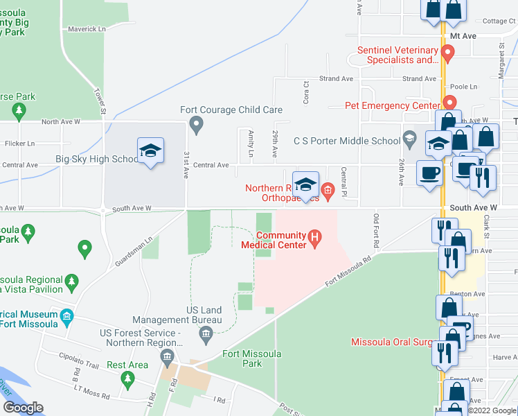 map of restaurants, bars, coffee shops, grocery stores, and more near 2922 South Avenue West in Missoula