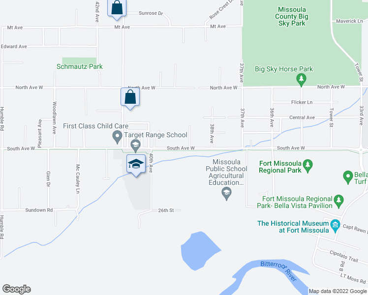 map of restaurants, bars, coffee shops, grocery stores, and more near 3890 South Avenue West in Missoula