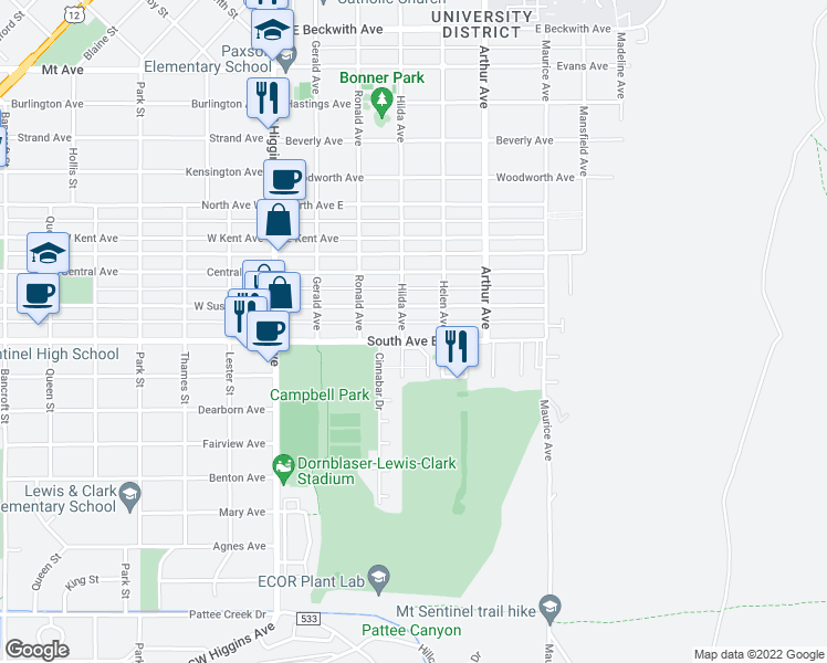 map of restaurants, bars, coffee shops, grocery stores, and more near 410 East South Avenue in Missoula