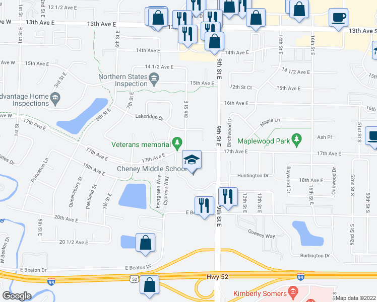 map of restaurants, bars, coffee shops, grocery stores, and more near 871 Lakeridge Place in West Fargo