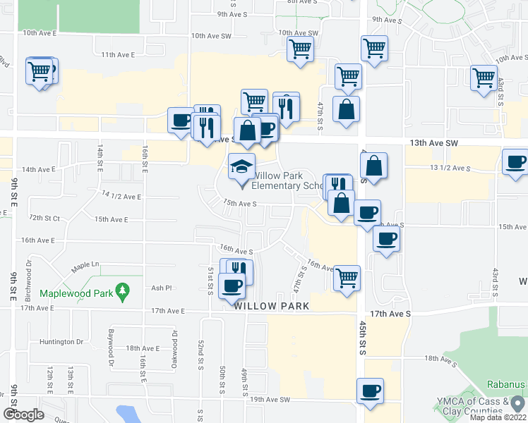 map of restaurants, bars, coffee shops, grocery stores, and more near 4802 15th Avenue South in Fargo