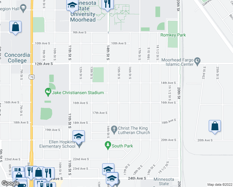 map of restaurants, bars, coffee shops, grocery stores, and more near 1503 15th Street South in Moorhead