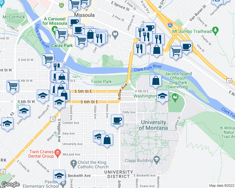 map of restaurants, bars, coffee shops, grocery stores, and more near 529 South 5th Street East in Missoula