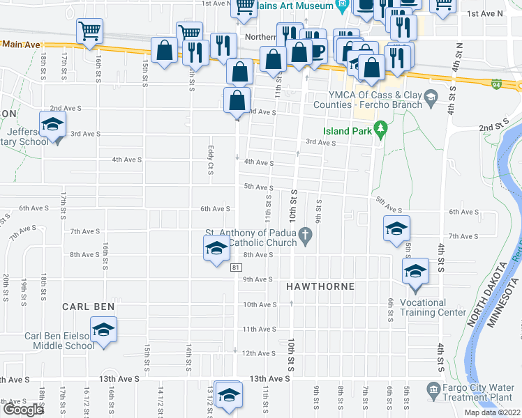 map of restaurants, bars, coffee shops, grocery stores, and more near 601 11th Street South in Fargo