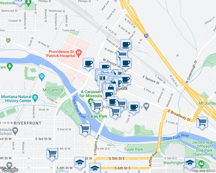 map of restaurants, bars, coffee shops, grocery stores, and more near 149 West Broadway Street in Missoula
