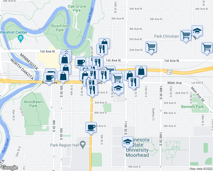 map of restaurants, bars, coffee shops, grocery stores, and more near 913 Main Avenue in Moorhead