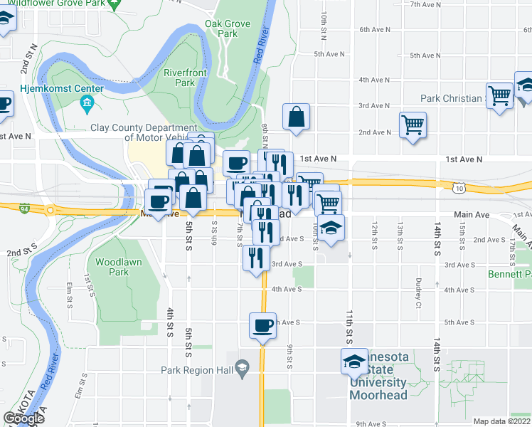 map of restaurants, bars, coffee shops, grocery stores, and more near in Moorhead