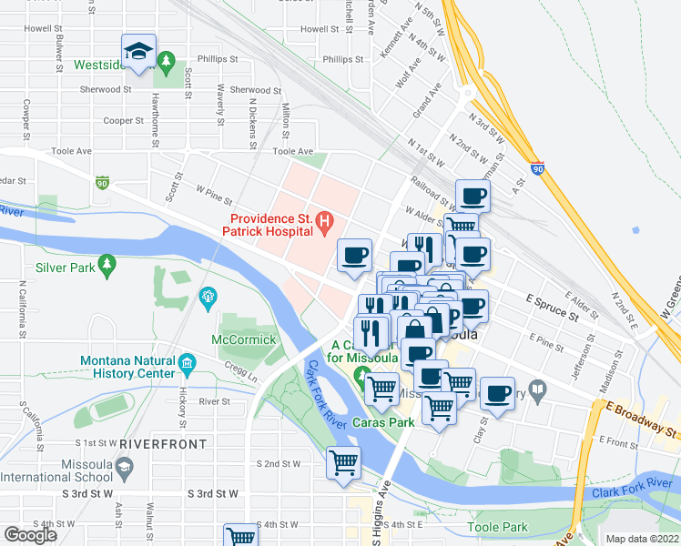 map of restaurants, bars, coffee shops, grocery stores, and more near 420 West Broadway Street in Missoula