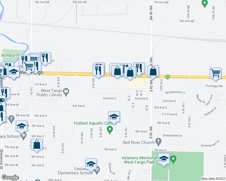 map of restaurants, bars, coffee shops, grocery stores, and more near 607 1st Avenue East in West Fargo