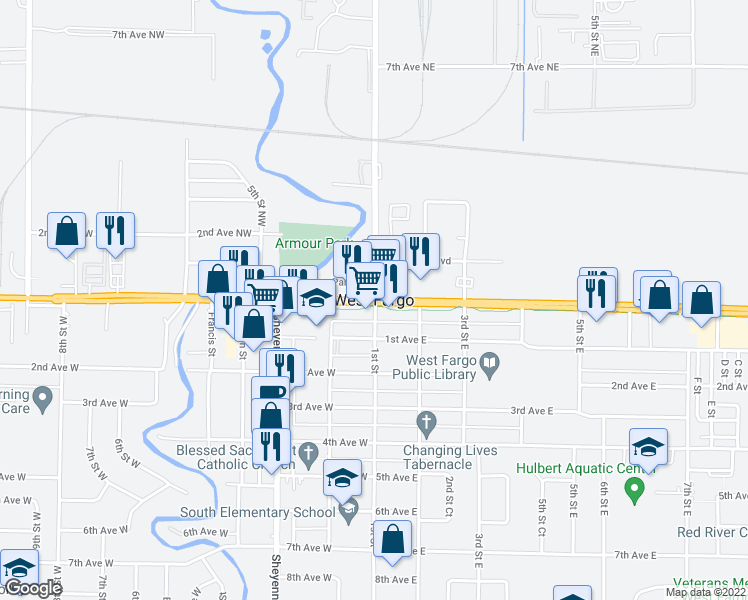 map of restaurants, bars, coffee shops, grocery stores, and more near in West Fargo