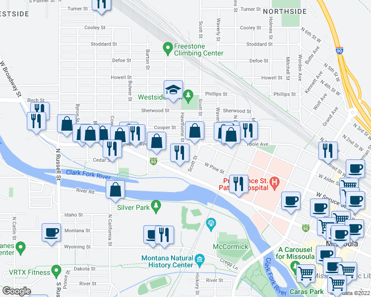 map of restaurants, bars, coffee shops, grocery stores, and more near 1010-1012 West Pine Street in Missoula