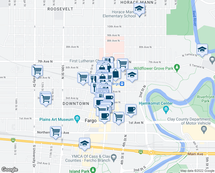 map of restaurants, bars, coffee shops, grocery stores, and more near 411 North Broadway Drive in Fargo