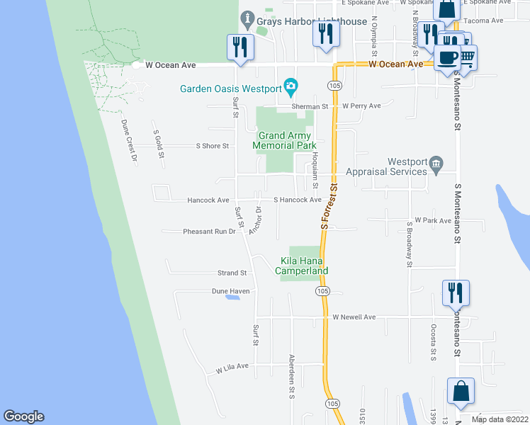 map of restaurants, bars, coffee shops, grocery stores, and more near 710 South Hancock Avenue in Westport
