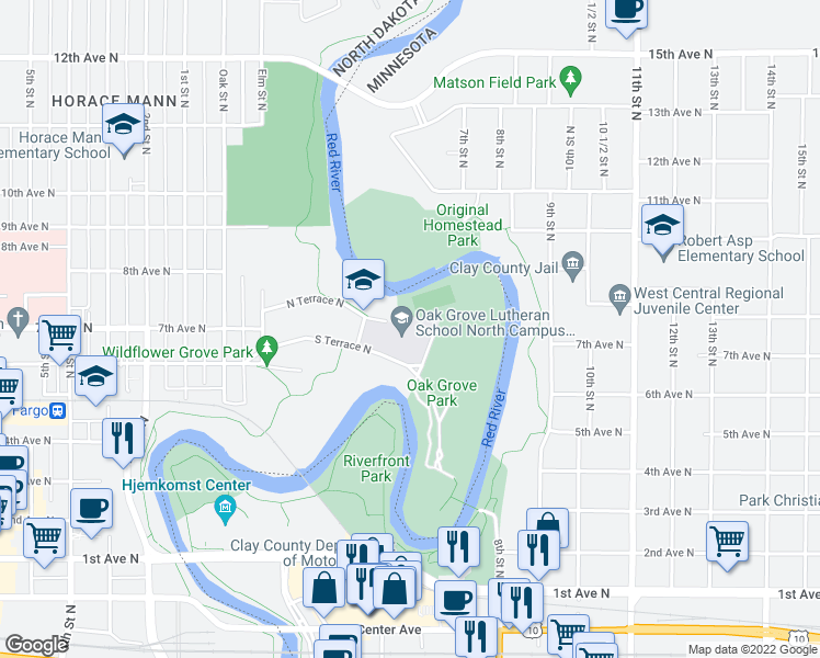 map of restaurants, bars, coffee shops, grocery stores, and more near 108 South Terrace North in Fargo