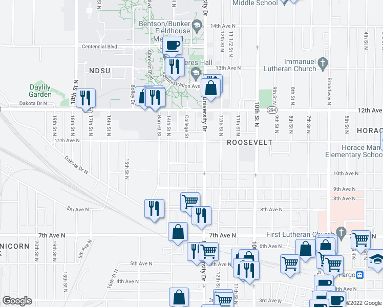map of restaurants, bars, coffee shops, grocery stores, and more near 1027 College Street North in Fargo