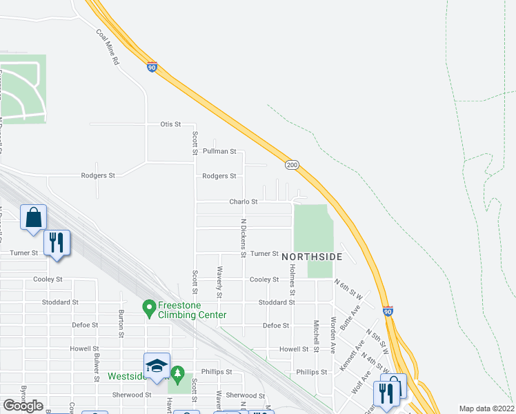 map of restaurants, bars, coffee shops, grocery stores, and more near 819 Charlo Street in Missoula