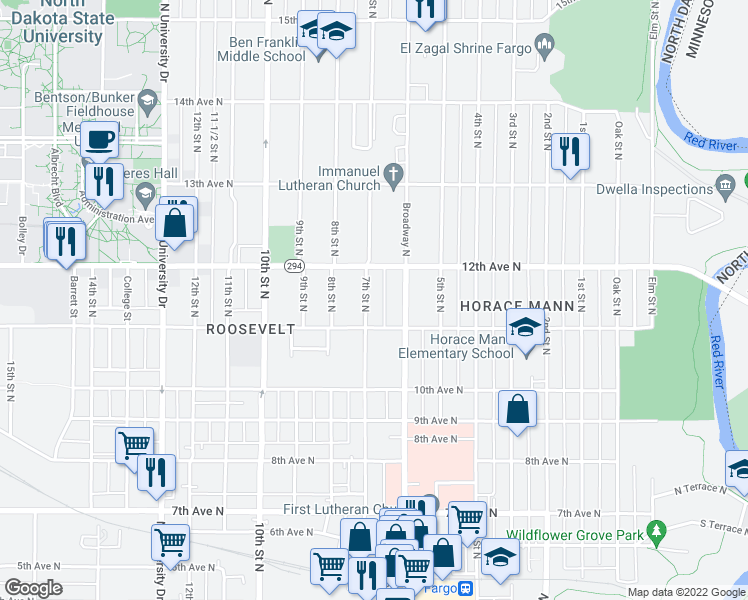 map of restaurants, bars, coffee shops, grocery stores, and more near 1111 7th Street North in Fargo