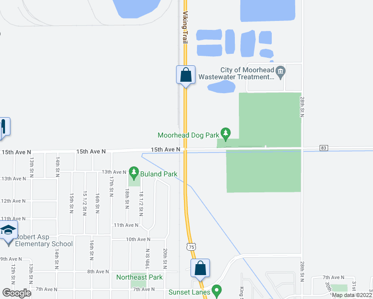 map of restaurants, bars, coffee shops, grocery stores, and more near 2121 15th Avenue North in Moorhead
