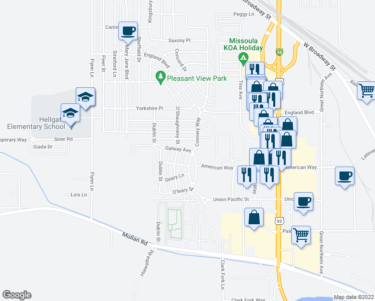 map of restaurants, bars, coffee shops, grocery stores, and more near 3900 Galway Avenue in Missoula