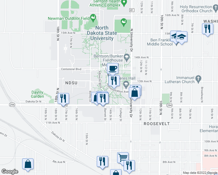 map of restaurants, bars, coffee shops, grocery stores, and more near 1340 Administration Avenue in Fargo