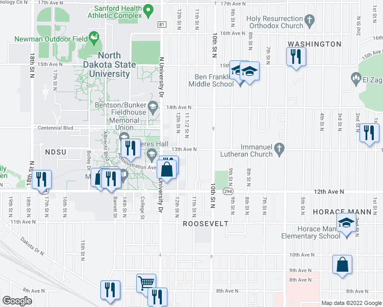 map of restaurants, bars, coffee shops, grocery stores, and more near 1106 13th Avenue North in Fargo