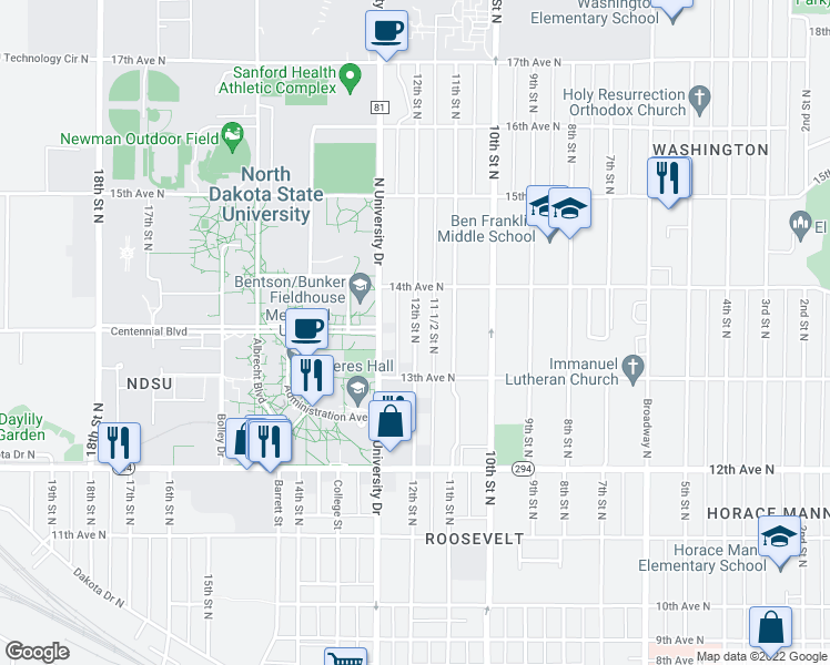 map of restaurants, bars, coffee shops, grocery stores, and more near 12th Street North in Fargo