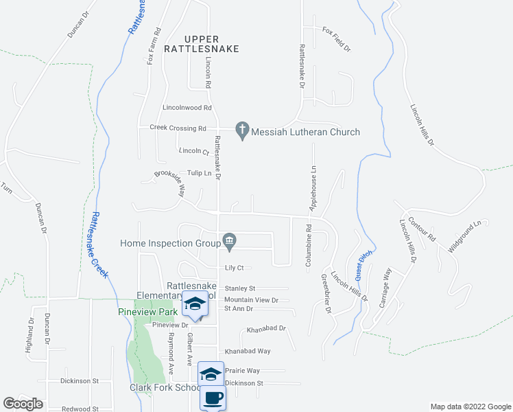 map of restaurants, bars, coffee shops, grocery stores, and more near 1456 Lincoln Hills Drive in Missoula