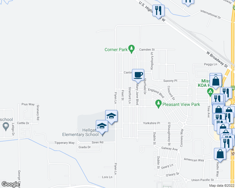 map of restaurants, bars, coffee shops, grocery stores, and more near 2780 Flynn Lane in Missoula